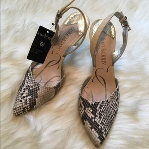 NWT Sam & Libby faux snakeskin pointed toe pumps